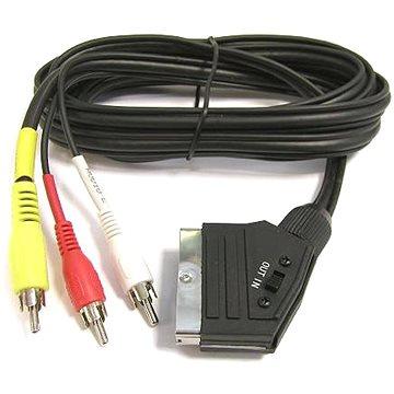PremiumCord Kabel SCART - 3xCINCH M/M 1.5m s přepínačem (kjssc-2)