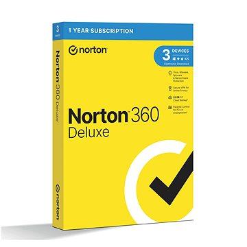 Norton 360 Deluxe 25GB CZ, 1 uživatel, 3 zařízení, 12 měsíců (elektronická licence) (21405802)