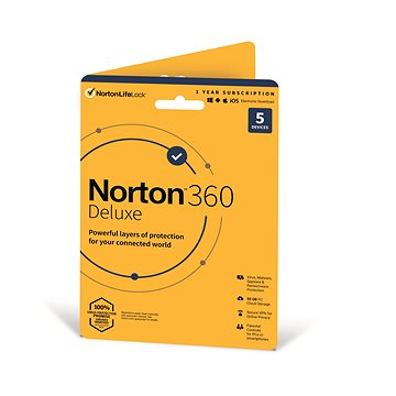 Norton 360 Deluxe 50GB CZ, 1 uživatel, 5 zařízení, 12 měsíců (elektronická licence) (21405762)