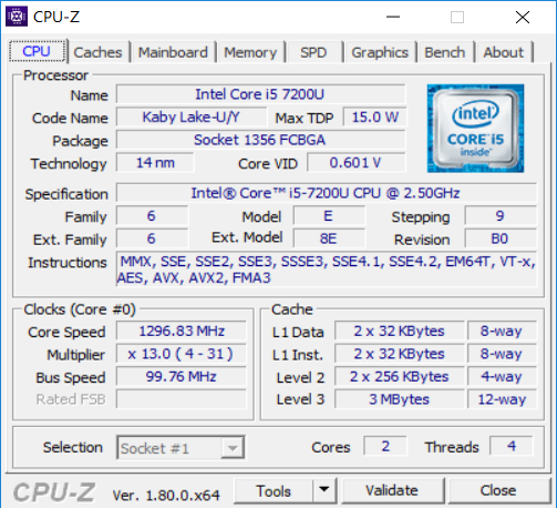 HP Spectre x360, CPU-Z